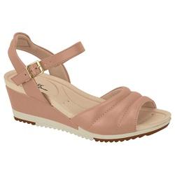 Sandália Feminina Anabela Confortável - Bege - MO7123-126BG - Pé Relax Sapatos Confortáveis