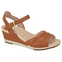 Sandália Feminina Anabela Confortável - Camel - MO7123-126CA - Pé Relax Sapatos Confortáveis