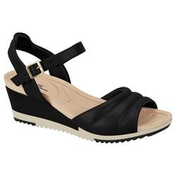 Sandália Feminina Anabela Confortável - Preta - MO7123-126PT - Pé Relax Sapatos Confortáveis