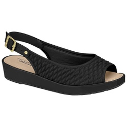 Sandália Feminina para Esporão - Preta - MO7150-103BR - Pé Relax Sapatos Confortáveis