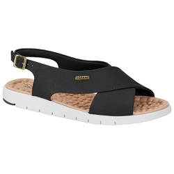 Sandália para Esporão e Fascite - Preta - MO7162-103PT - Pé Relax Sapatos Confortáveis