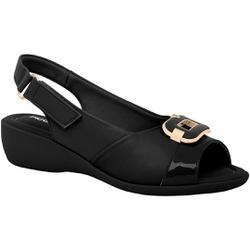 Sandália Esporão e Fascite com Velcro - Preta - PI416081PT - Pé Relax Sapatos Confortáveis