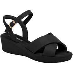 Sandália Anabela Salto Baixo - Preta / Sola Preta - PI565011PT - Pé Relax Sapatos Confortáveis