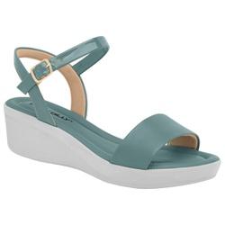 Sandália Anabela Salto Baixo - Azul - PI565010AZ - Pé Relax Sapatos Confortáveis