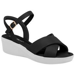 Sandália Anabela Salto Baixo - Preta / Sola Branca - PI565011PB - Pé Relax Sapatos Confortáveis