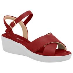 Sandália Anabela Salto Baixo - Rubi - PI565011RB - Pé Relax Sapatos Confortáveis