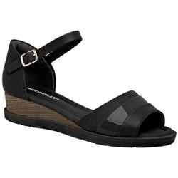 Sandália Anabela Confortável - Preto - PI458004PT - Pé Relax Sapatos Confortáveis