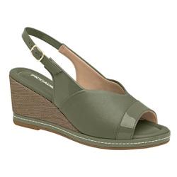 Sandália Anabela Joanete - Oliva - PI408157OL - Pé Relax Sapatos Confortáveis