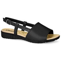 Sandália Esporão e Fascite com Fivela - Preta - CAL6813PT - Pé Relax Sapatos Confortáveis