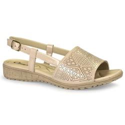 Sandália Feminina para Esporão e Fascite Plantar - Aveia - CAL6813-0001AV - Pé Relax Sapatos Confortáveis