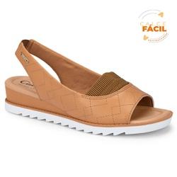Sandália Confort Feminina - Toast - CAL7472TO - Pé Relax Sapatos Confortáveis