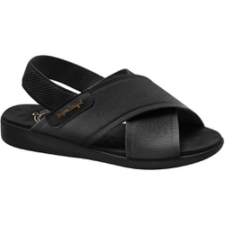 Sandália para Senhoras Esporão e Fascite - Lycra Nassau Preta / Sola Preta - MA14031PT - Pé Relax Sapatos Confortáveis