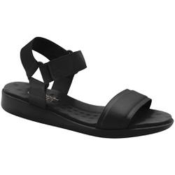 Sandália Feminina para Fascite e Esporão com Velcro - Preta - MA14058PT - Pé Relax Sapatos Confortáveis