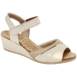 Sandália Anabela Joanete com Velcro - Branco/ Ivory - MA206050PO - Pé Relax Sapatos Confortáveis