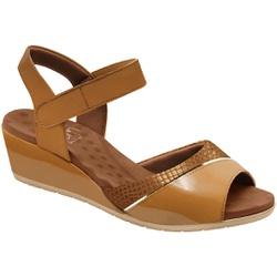 Sandália Anabela Joanete com Velcro - Ambar - MA206050AM - Pé Relax Sapatos Confortáveis