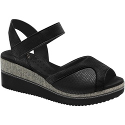 Sandália Anabela para Joanete - Preta/Sola Preta - MA581025VPT - Pé Relax Sapatos Confortáveis