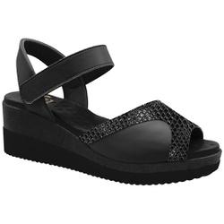 Sandália Anabela para Joanete - Gloss / Mestiço Preto - MA581025FGMP - Pé Relax Sapatos Confortáveis