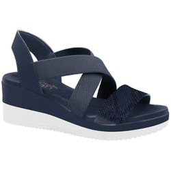 Sandália Anabela Super Comfort - Azul - MA581063AZ - Pé Relax Sapatos Confortáveis