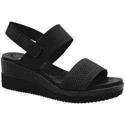 Sandália Anabela Confortável - Preta - MA581082FPT - Pé Relax Sapatos Confortáveis