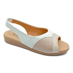 Sandália para Joanete, Fascite e Esporão - Off White - PR14075OF - Pé Relax Sapatos Confortáveis
