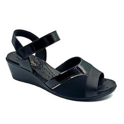 Sandália Anabela para Joanete com Velcro - Preto - PR206074PR - Pé Relax Sapatos Confortáveis