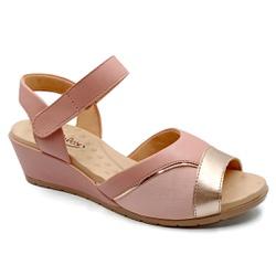 Sandália Anabela para Joanete com Velcro - Cobre - PR206074FCO - Pé Relax Sapatos Confortáveis