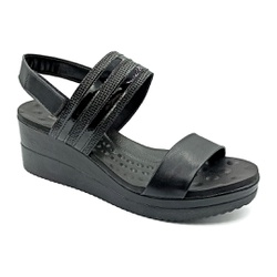 Sandália Anabela Ultra Conforto - Preto - PR581091FPR - Pé Relax Sapatos Confortáveis