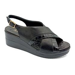 Sandália Anabela Confortável - Preto - PR581092FPR - Pé Relax Sapatos Confortáveis