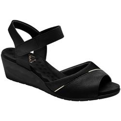 Sandália Anabela Joanete Com Velcro - Preto Metalizado - MA206050P - Pé Relax Sapatos Confortáveis