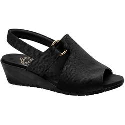Sandália Anabela Salto Baixo - Preta - MA206051PT - Pé Relax Sapatos Confortáveis