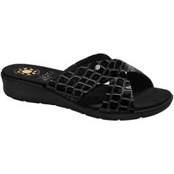 Tamanco para Pés Largos e Fascite Plantar - Croco Preto - MA10075CP - Pé Relax Sapatos Confortáveis
