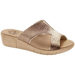 Tamanco para Joanete e Fascite Plantar - Escama Cobre / Lycra Choco - MA585018LC - Pé Relax Sapatos Confortáveis