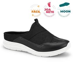 Mule Esportivo para Esporão e Fascite - Preto / Sola Branca - CAL7325-0004PT - Pé Relax Sapatos Confortáveis