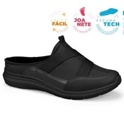 Mule Esportivo para Esporão e Fascite - Preto / Sola Preta - CAL7325-0007PT - Pé Relax Sapatos Confortáveis