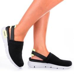 Mule em Knit para Esporão e Fascite - Preto - KOK8486A-0001PT - Pé Relax Sapatos Confortáveis