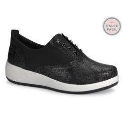 Tênis para Esporão e Fascite c/ Palmilha Gel - Preto - CAL6712PT - Pé Relax Sapatos Confortáveis