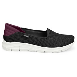 Tênis Casual Feminino - Preto e Bordô - KOK7003-0001PT - Pé Relax Sapatos Confortáveis