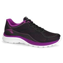 Tênis Caminhada Feminino - Preto e Fucsia - KOK8365-0001PF - Pé Relax Sapatos Confortáveis