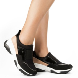 Tênis Confortável e Super Leve - Preto e Bege - DAG2482PB - Pé Relax Sapatos Confortáveis