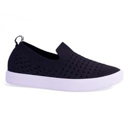 Slip On Feminino em Tecido Knit - Preto - MJ8440-5625PT - Pé Relax Sapatos Confortáveis
