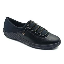 Tênis Feminino Confortável para Fascite e Esporão - Preto - PR421028PR - Pé Relax Sapatos Confortáveis
