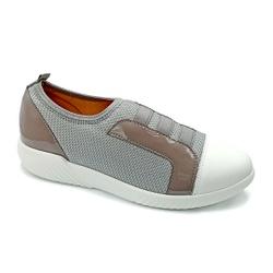 Tênis Feminino Confortável para Fascite Plantar - Branco / Grafiato - PR633019GR - Pé Relax Sapatos Confortáveis