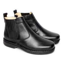 Bota em Couro Masculina - Preta - FB690P - Pé Relax Sapatos Confortáveis