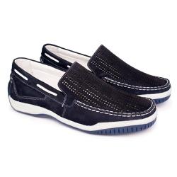Mocassim Masculino Nobuck - Azul - FB6008A - Pé Relax Sapatos Confortáveis
