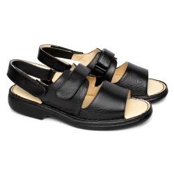 Sandália de Couro com Velcro Tamanho Grande - Preta - FB653P - TG - Pé Relax Sapatos Confortáveis