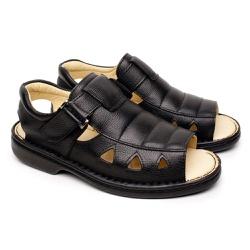 Sandália Masculina em Couro Conforto Tipo Anti Estresse - Preta - FB659PT - Pé Relax Sapatos Confortáveis