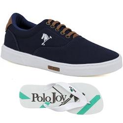 Kit 1 Tênis Casual e 1 Chinelo Polo Joy Azul - 202... - Prime Store Calçados