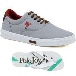 Kit 1 Tênis Casual e 1 Chinelo Polo Joy Cinza - 20... - Prime Store Calçados