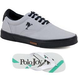 Kit 1 Tênis Casual e 1 Chinelo Polo Joy Cinza com ... - Prime Store Calçados