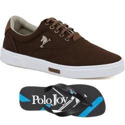 Kit 1 Tênis Casual e 1 Chinelo Polo Joy Marrom - 2... - Prime Store Calçados